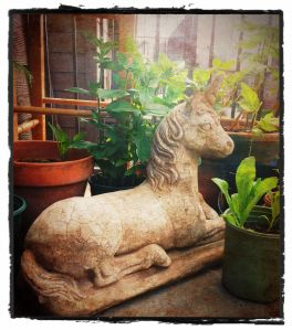 This is a 50-pound cement unicorn I recently obtained. I love it.
